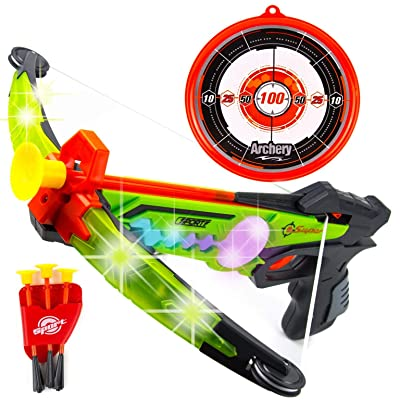 Toysery Real Crossbow Archery Set - Comes with Suction Cup Arrows and Target - Great for Indoor and Outdoor Game - Designed with LED Lights - Ultimate Fun for Kids: Toys & Games