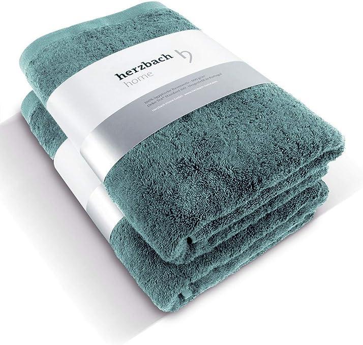 herzbach Home - Juego de 2 toallas de ducha de calidad premium, 100% algodón egipcio, 70 x 140 cm, 600 g/m², algodón ...
