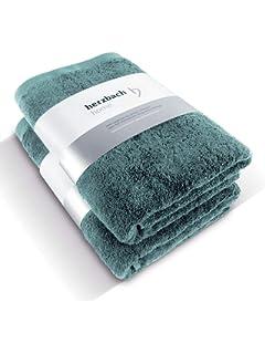 herzbach Home - Juego de 2 toallas de ducha de calidad premium, 100% algodón egipcio, 70 x 140 cm, 600 g/m², algodón, Verde océano., 70 x 140 cm: Amazon.es: Hogar