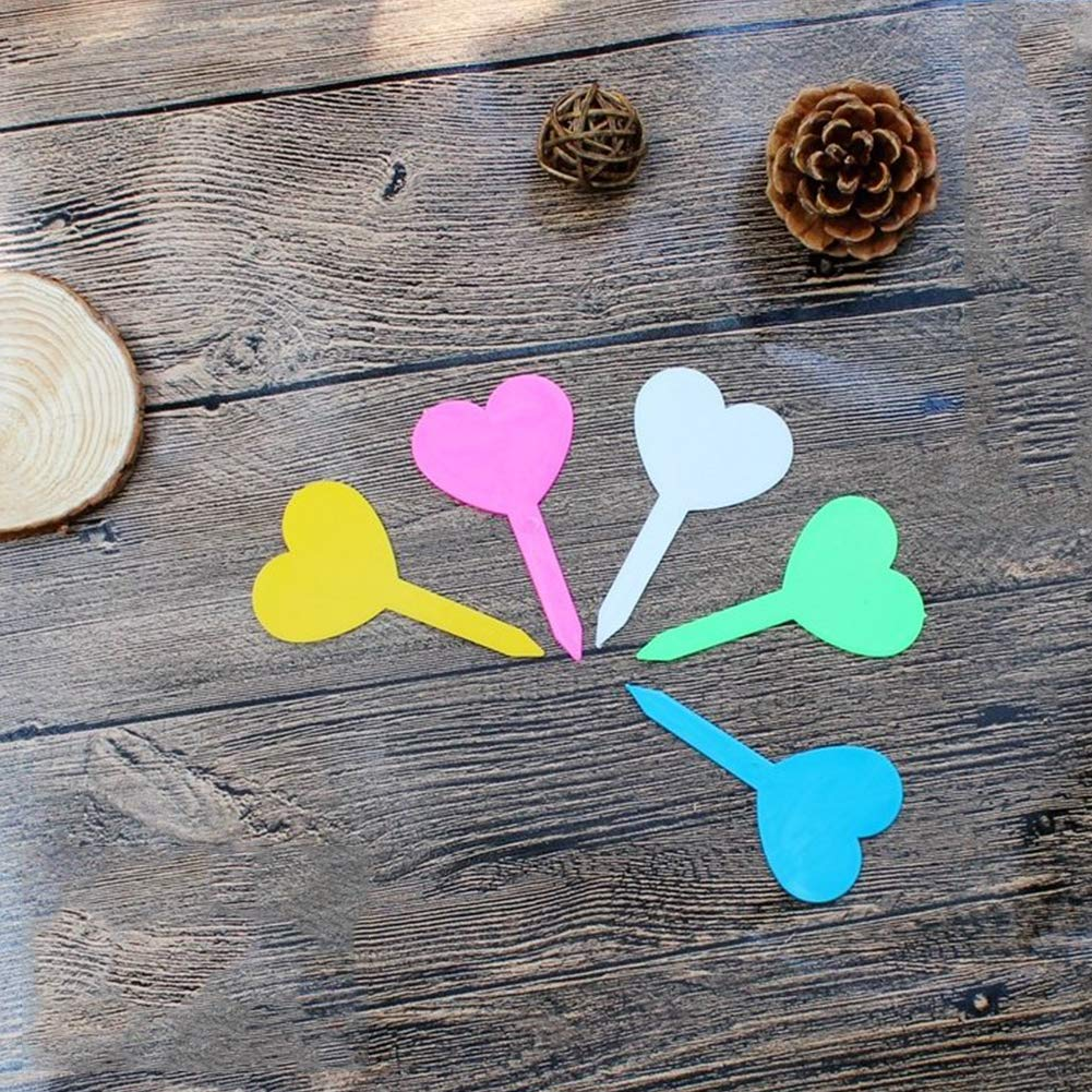 DierCosy Plant Marker 50Pcs Plastic Heart Shaped Gardening Name Tag Plant Flower Labels Nursery Markers