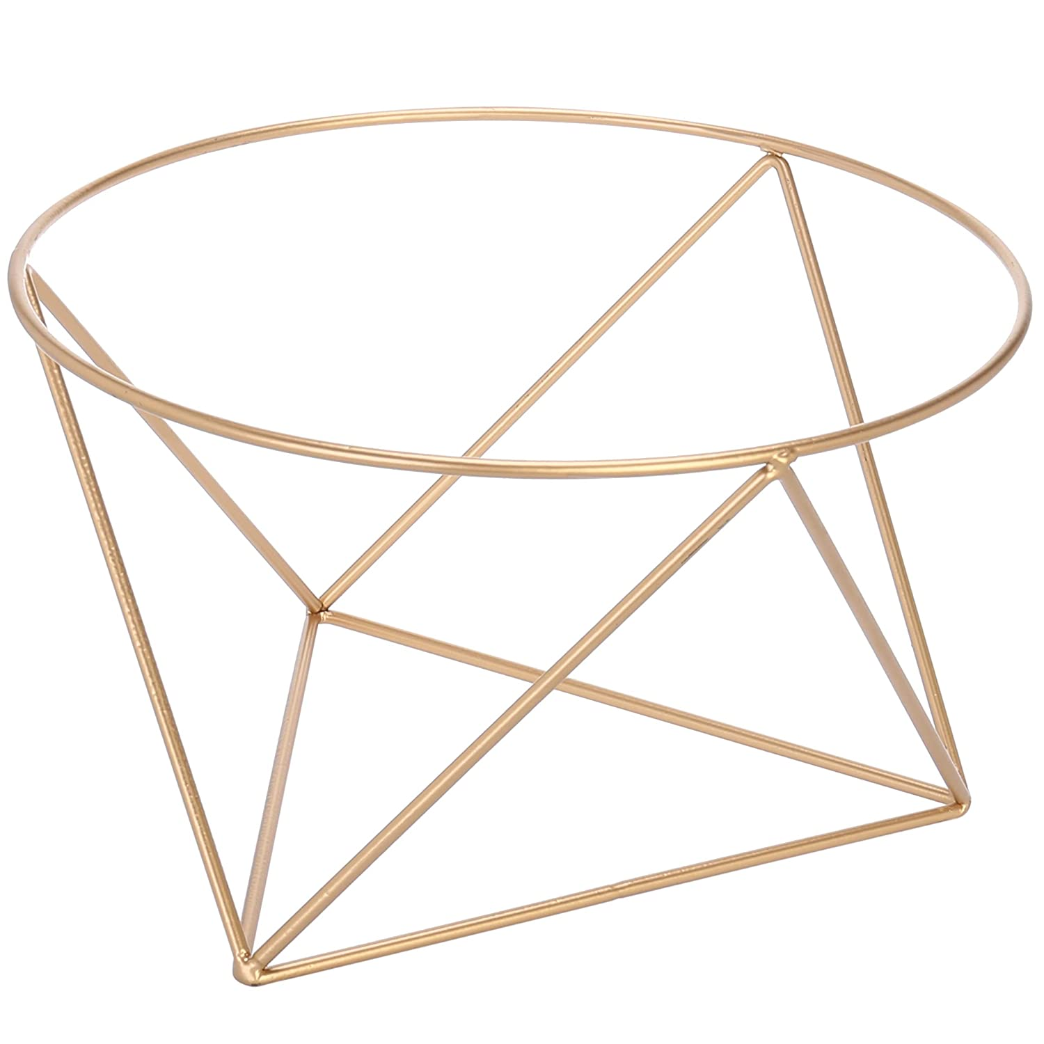 MyGift 10-Inch Geometric Gold-Tone Metal Wire Pizza Tray Riser Stand