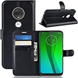 Motorola Moto G7 Plus G7+ Case, [Pocket] PU Leather Wallet Shockproof Protective Book Style Case with Credit Cards Slot and Magnetic Closure Flip Stand Case (Black)