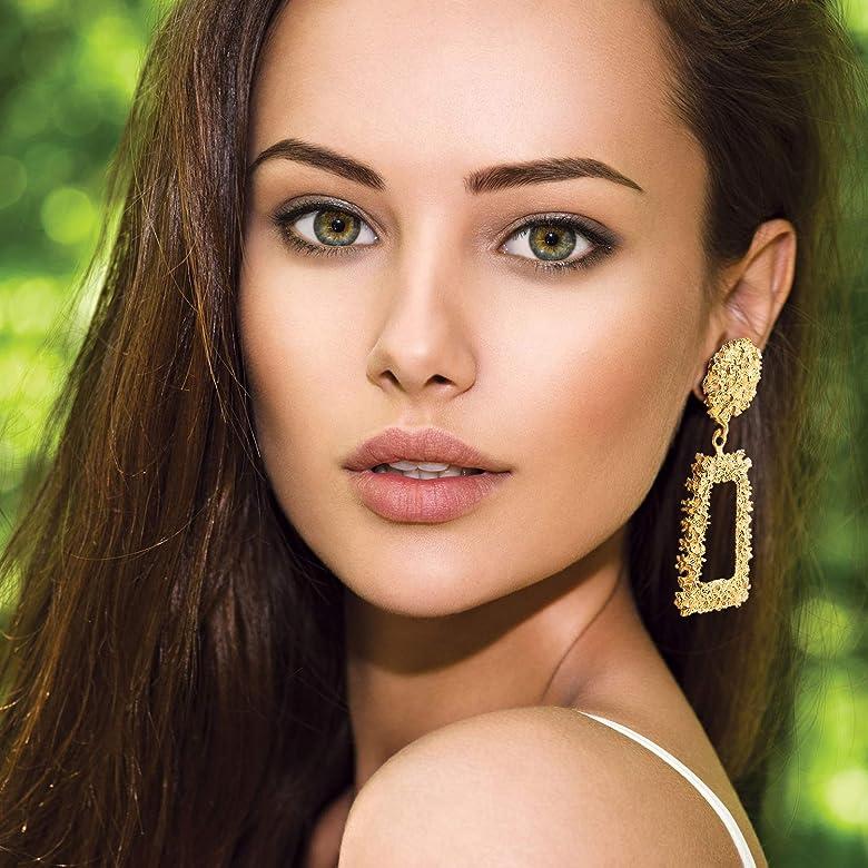 VALIJINA 2-4 Pairs Statement Dangle Earrings for Women Girls Geometric Raised Design Metal Dangle Earrings Set