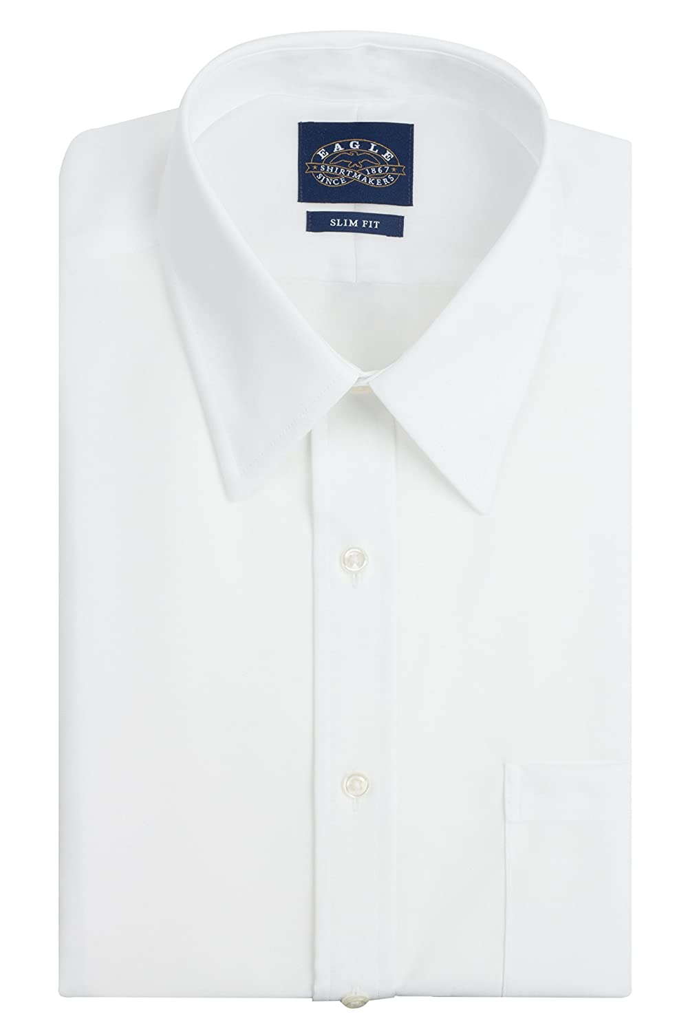 Eagle Mens Non Iron Slim Fit Solid Point Collar Dress Shirt At