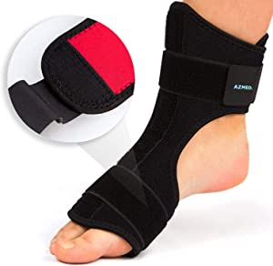 AZMED Plantar Fasciitis Night Splint & Support, Adjustable Orthotic Foot Drop Brace for Achilles Tendonitis and Heel Spur Relief, Black