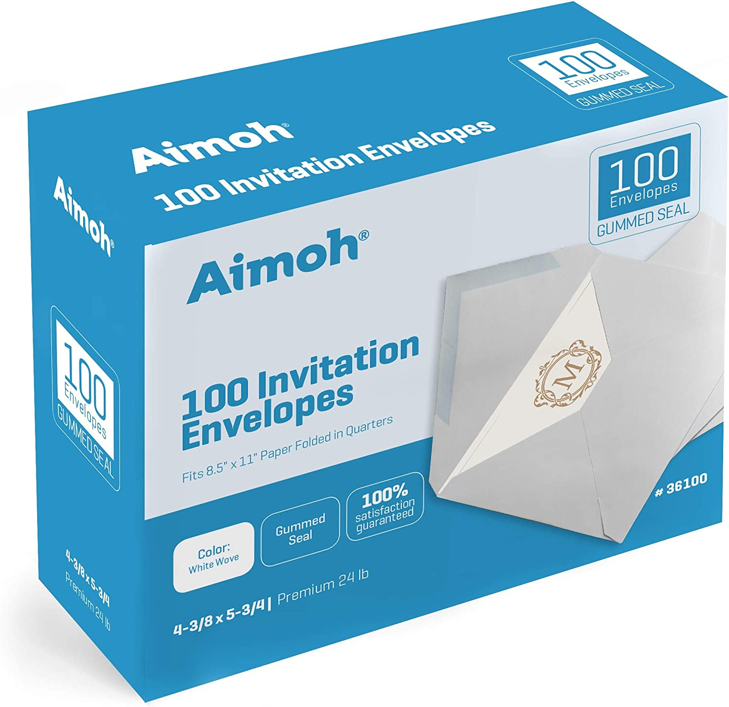100 White A2 Invitation Envelopes - 4-3/8 X 5-3/4 Inches, 24 lb, White, GUMMED Closure, 100 Envelopes - Ideal for Invitations, Greetings, RSVP, Photo, Wedding Announcement Cards (36100) : Office Products