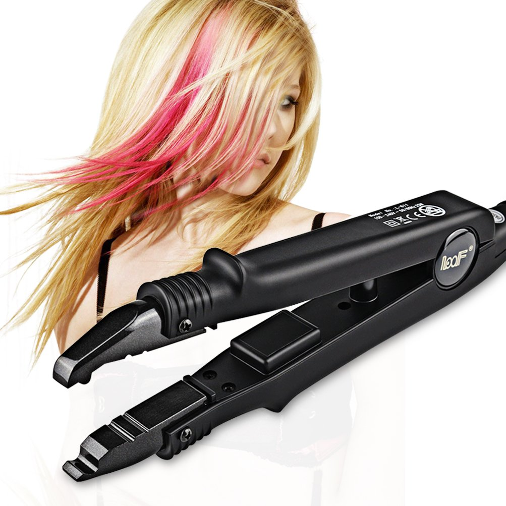 Professional Hair Extensions Tool Fusion Heat Iron Connector Wand Melting Tool with Adjustable Temperature Setting Black BlueTop