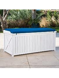 Brighton Beach Outdoor Wood Storage Bench With Blue Cushion In White Finish  48L X 20W X