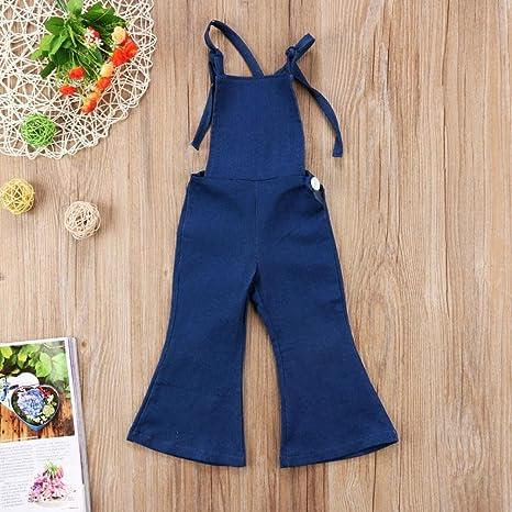 0199af7d23 Amazon.com  2018 Toddler Kids Baby Girl Adjustable Strap Jeans Bib Overalls  Sleeveless Backless Denim Romper Bell Bottom Flare Pants  Clothing