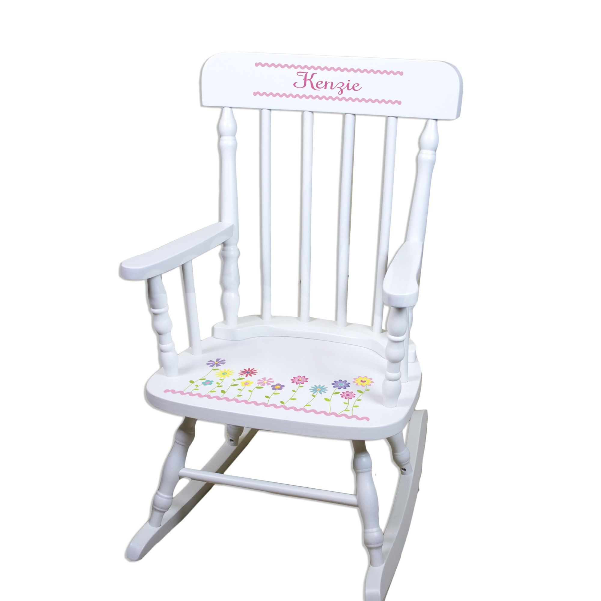 Children's Personalized White Flowers Rocking Chair