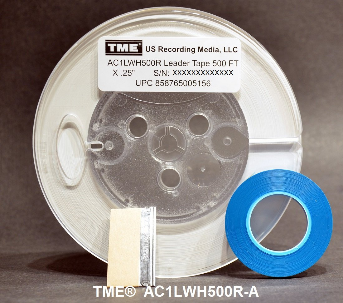 Leader Tape Open Reel Audio Opaque White 1/4 Inch x 500 Ft on 5'' Pro Reel With Splicing Tape and Media Blade by TME AC1LWH500R-A