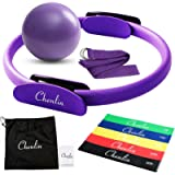 Chenlin 5 Pcs Pilates Ring Set,14 inch Yoga Fitness Magic Circle,Resistance Loop Bands,Pilates Ball,Stretch Strap for…