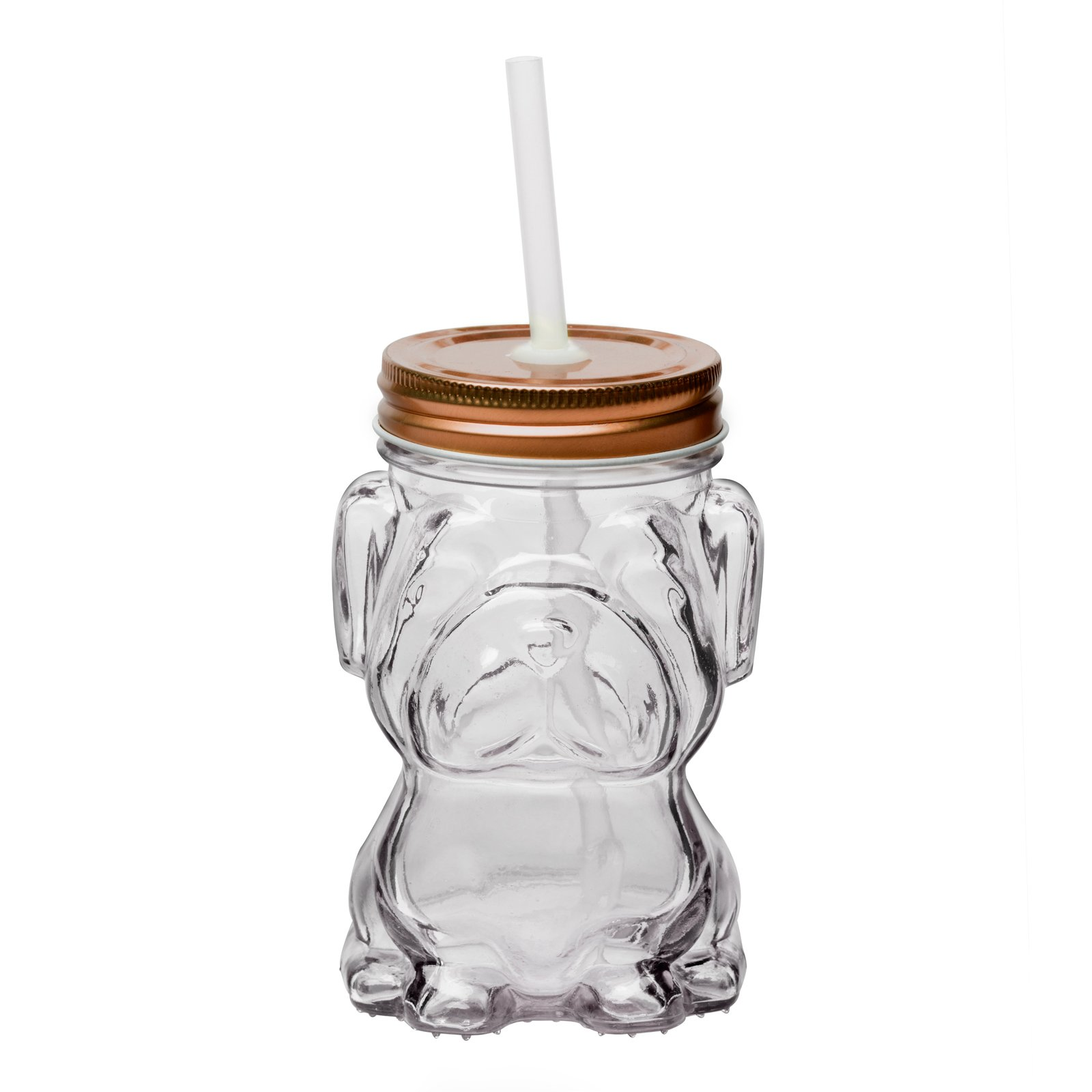 Amici Home 7CM204CS6R Mad Dog Mason Jar, Copper Twist Top Lid, Raised Textured Glass 14 Ounce Capacity, Set of 6 by Amici Home