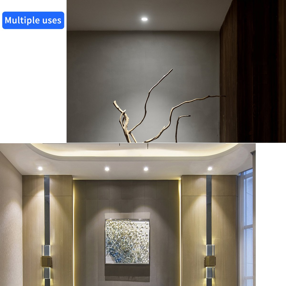 24 Beam Angle Spotlight For Living Room,Hotel Warm White 3000k,Recessed Ceiling Lighting Fixture Flexible Light 960lm Ding Room Beam Direction SCON 12W CRI93 LED COB CREE COB Downlight