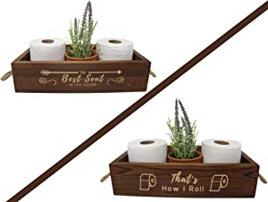 The Best Seat in The House / That's How I Roll – Toilet Paper Holder – Farmhouse Rustic Wood Crate Home Décor – Engraved Text