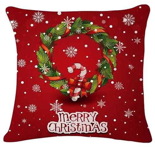 JUNGEN Fundas de Cojín de Decoración de navideño Impresión de Patrones de Árbol de Navidad Funda de Almohada de Lino para Decoración Sofá Coche Cama, ...