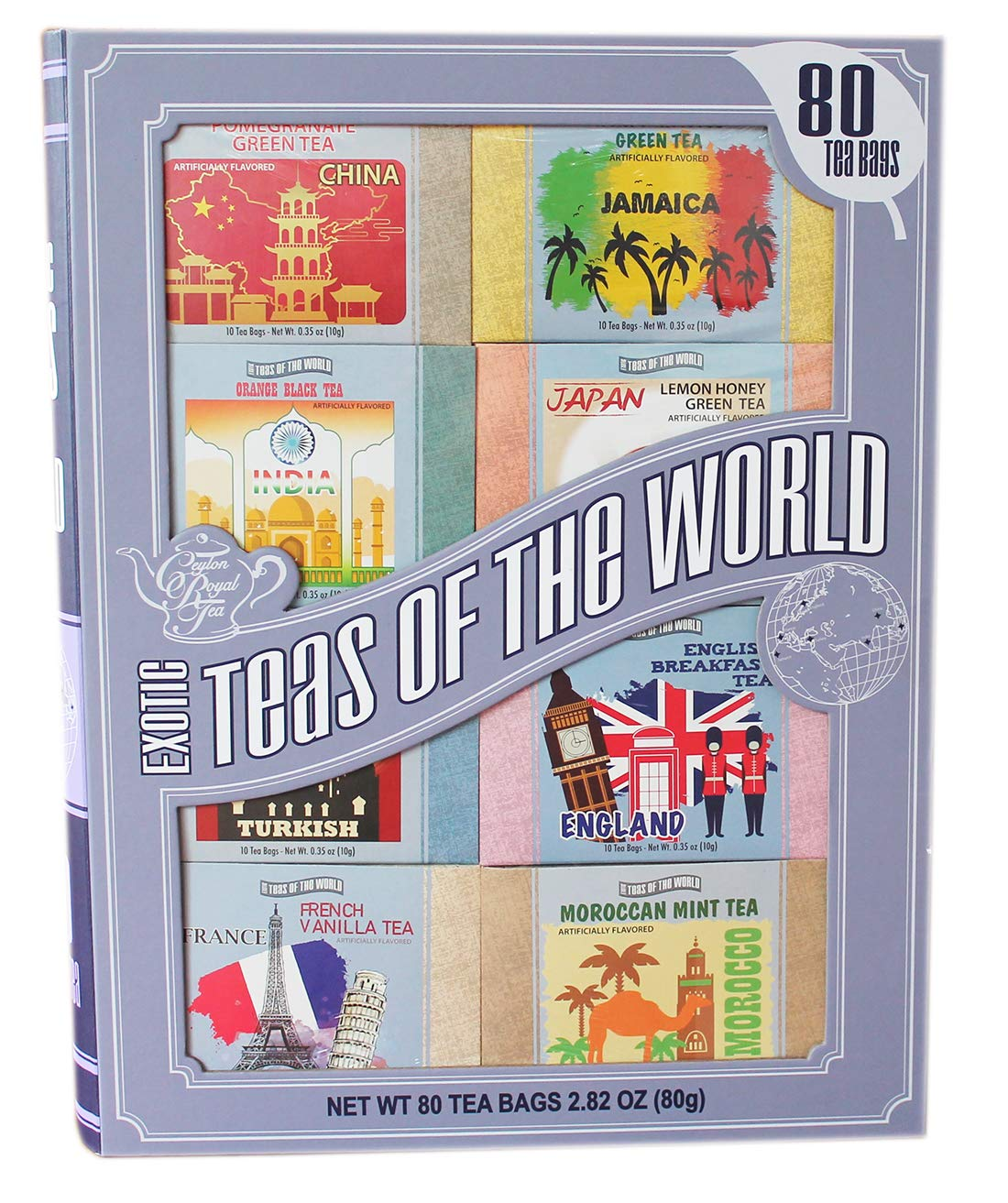 CDM product Exotic Teas of The World Gift Set, 80 Tea Bags, 8 Different Flavors big image