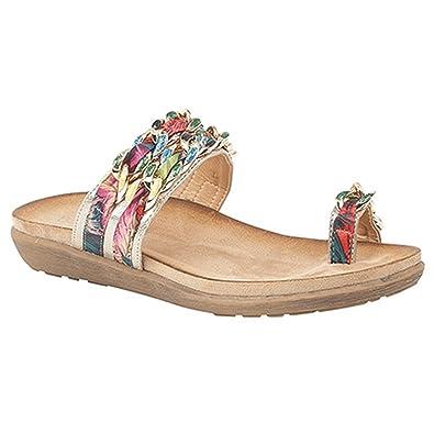 b72d1a8e4065 Boulevard Womens Ladies Jewel Fabric Trim Toe Loop Sandals (8 UK) (Light