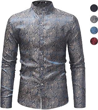 X&Armanis Camisa Vintage para Hombre, Camisa Casual Estampada de poliéster Camiseta de Manga Larga con Cuello Alto (otoño): Amazon.es: Deportes y aire libre