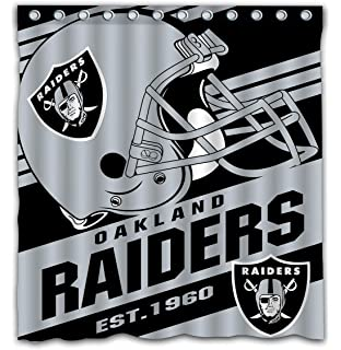Potteroy Oakland Raiders Team Stripe Design Shower Curtain Waterproof Mildew Proof Polyester Fabric 66x72 Inches