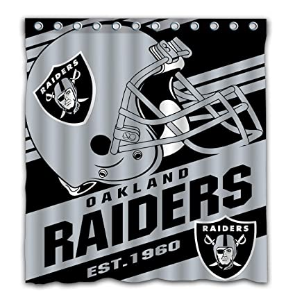 Image Unavailable Not Available For Color Potteroy Oakland Raiders Team Stripe Design Shower Curtain