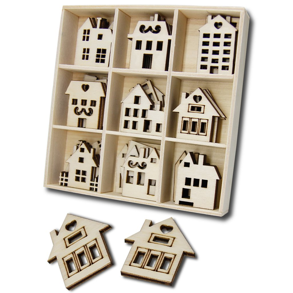 Wooden House Shaped Embellishments Ornaments JHYQ-US for Art Business (Pack of 45)