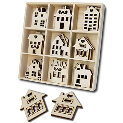amazon com wooden house shaped embellishments ornaments jhyq us for