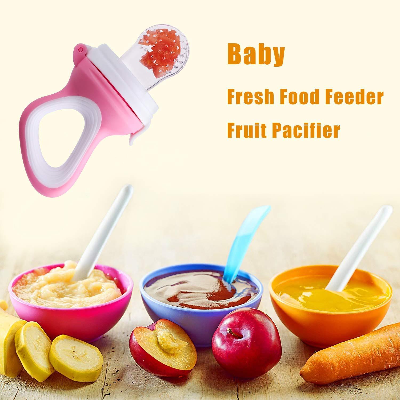 Fruchtsauger f/ür Baby /& Kleinkind Schnuller Bei/ßring f/ür Obst Gem/üse Brei Beikost BPA-frei 3 Silikon-Sauger in 3 Gr/ö/ßen Blau
