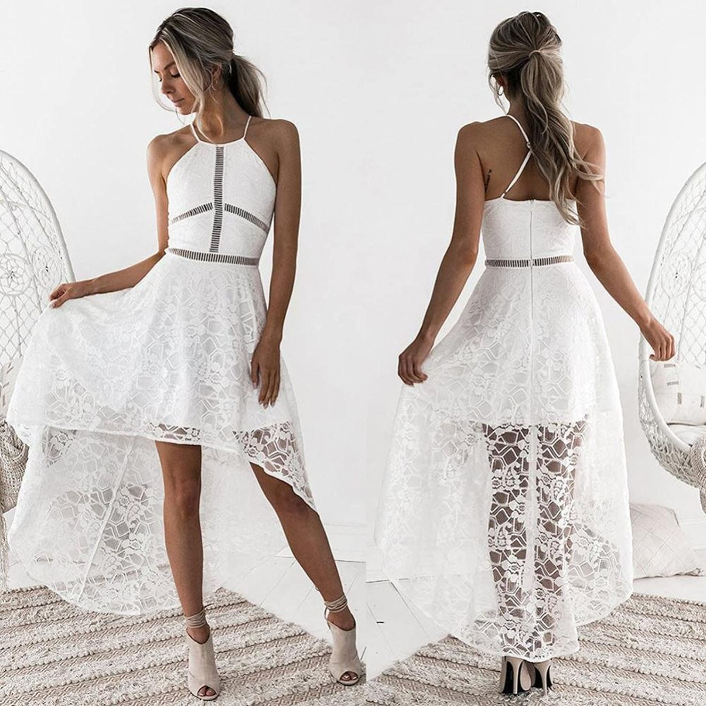Elecenty Sommerkleid Minikleid Damen,Reizvolle Spitzenkleid ...