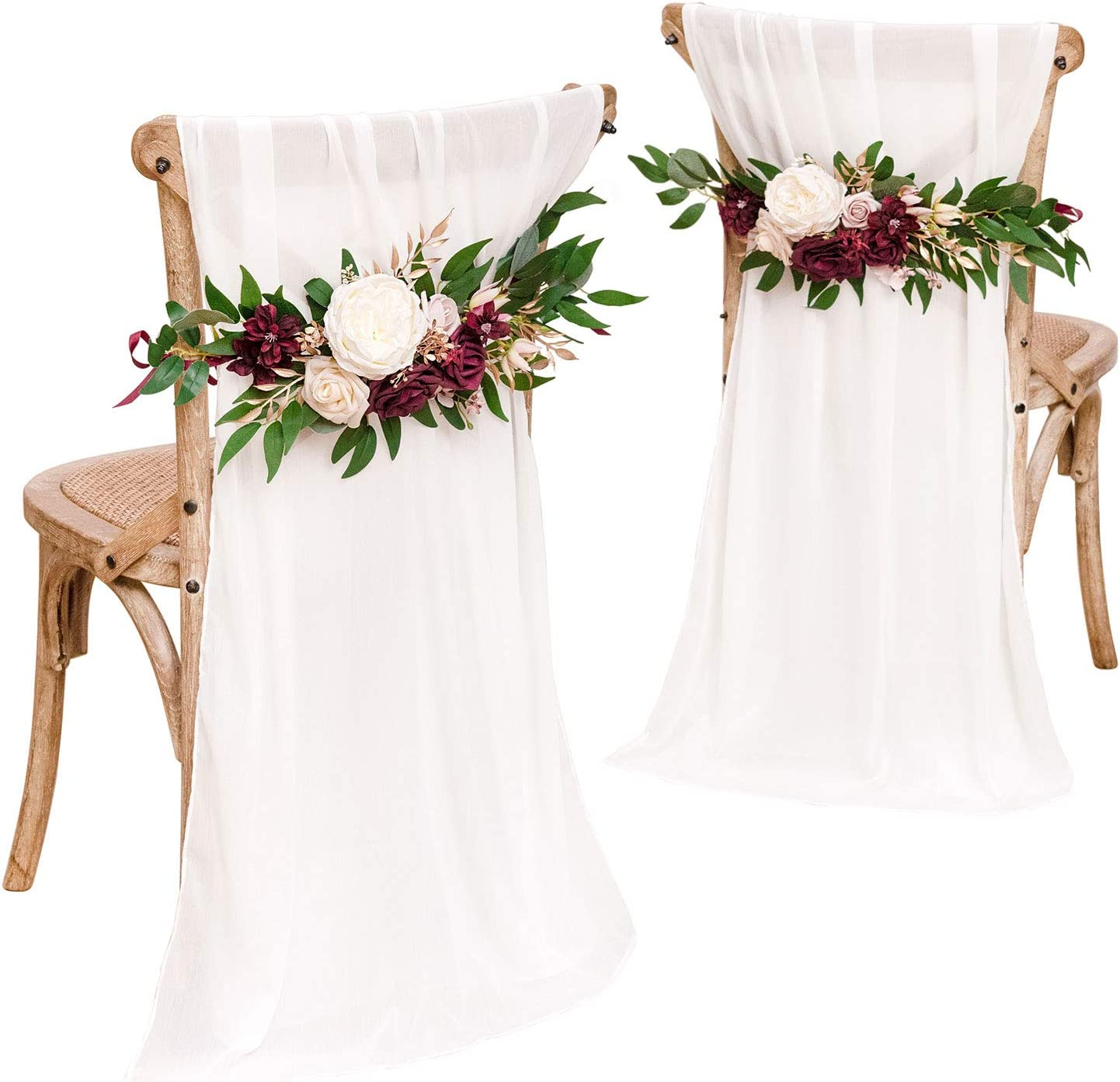 Ling's moment Set of 2 Rustic Wedding Chair Decoration for Bride Groom with Sashes, Marsala Flower Swags for Arch,Aisle Pew Decoratons for Wedding Ceremony