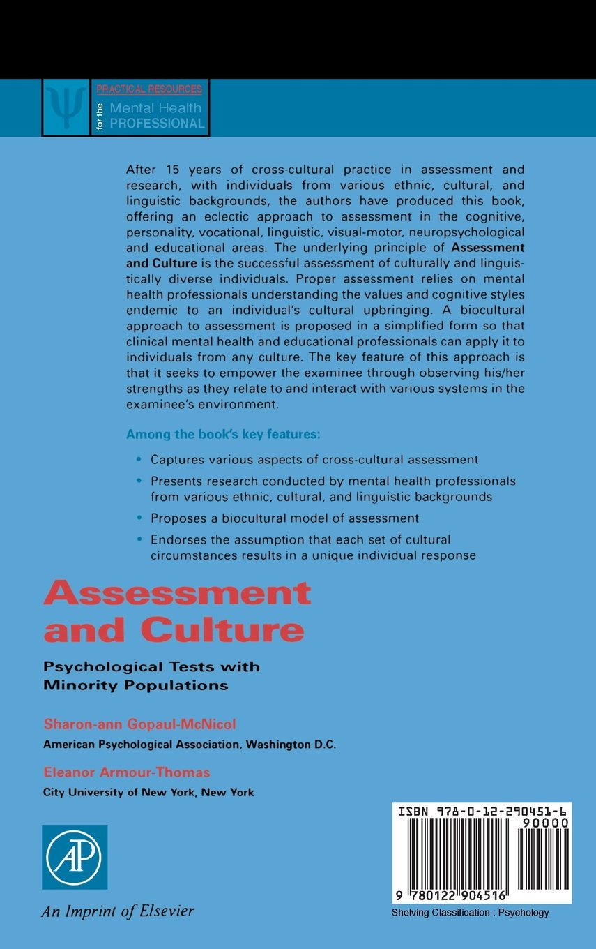 Assessment and Culture: Psychological Tests with Minority Populations (Practical Resources for the Mental Health Professional)