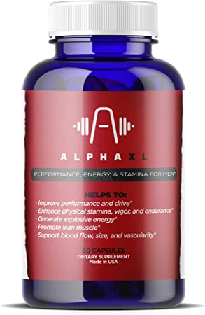 Alpha Male XL - The #1 Most Potent & Powerful Male Supplement Pills Ideal for Men with Low T Testosterone Levels! All Natural & Clinically Proven Ingredients Performance Booster 1 Bottle Supply