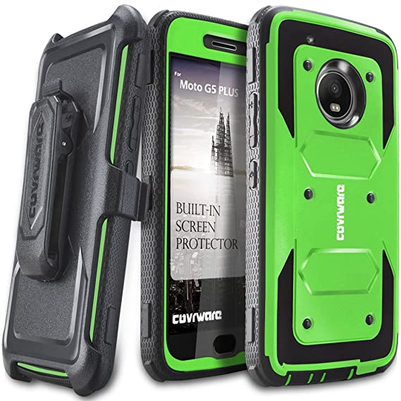 more photos 09919 f4742 Moto G5 Plus Case, COVRWARE [Aegis Series] w/Built-in [Screen Protector]  Heavy Duty Full-Body Rugged Holster Armor Case [Belt Swivel  Clip][Kickstand] ...