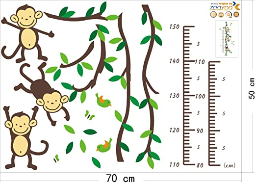 Peel and Stick Set Includes Growth Chart, Three Monkees, Tree Branches