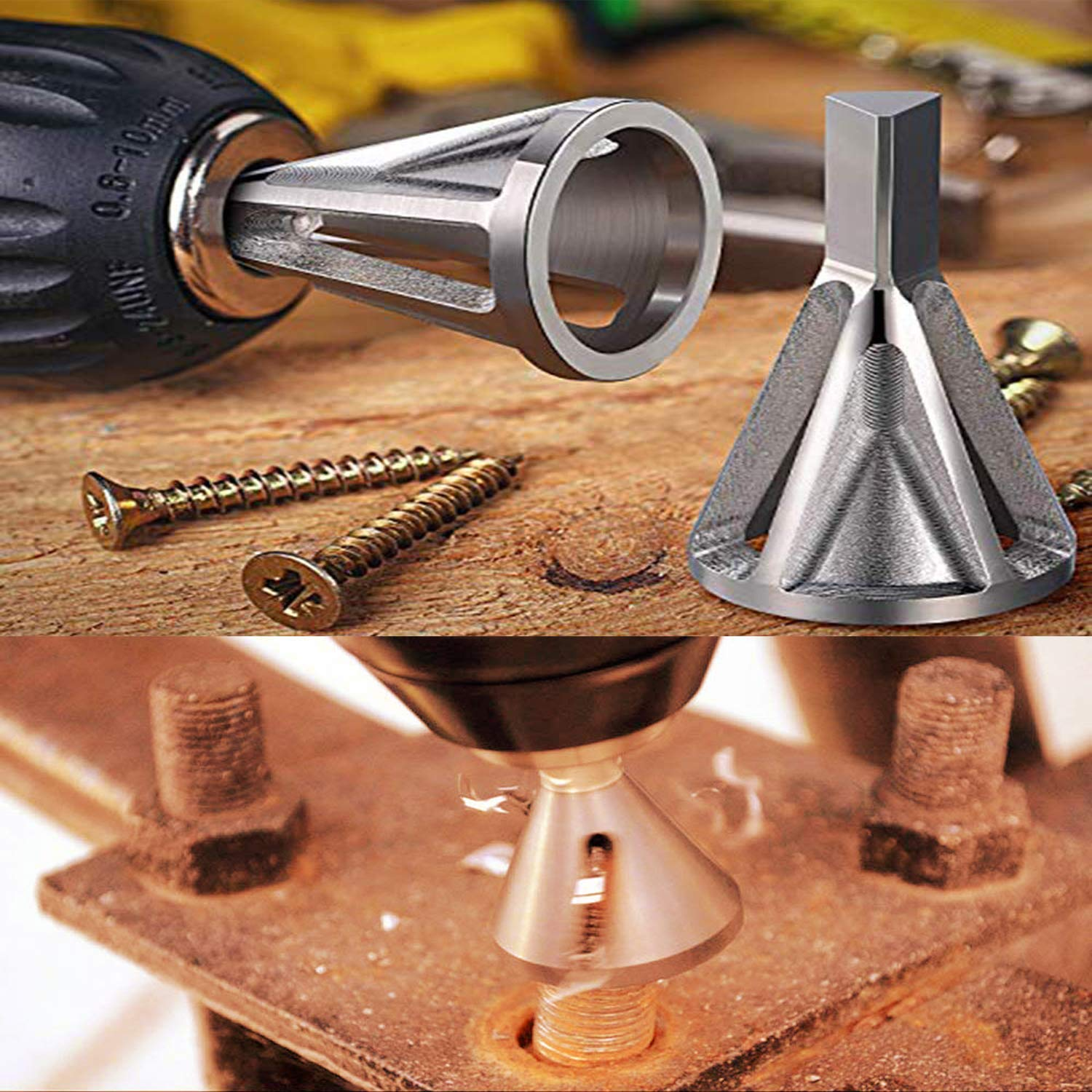 Drill Accessories Deburring Tool for External Bevel Screws Deburring External Bevel Tool for Metal Outside Diameter Silver 2 Piece Burr Remove Tool