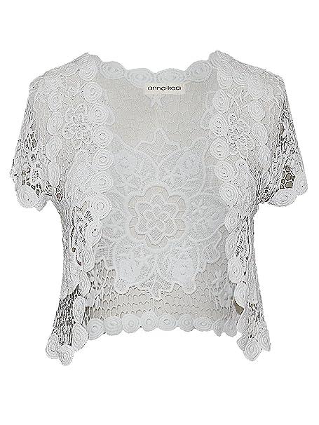 Anna Kaci White Floral Lace Crochet Mesh Short Sleeve Crop Cardigan
