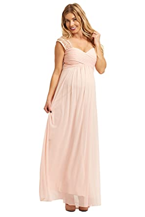 7bfd25f3df PinkBlush Maternity Light Pink Lace Accent Chiffon Maternity Evening Gown