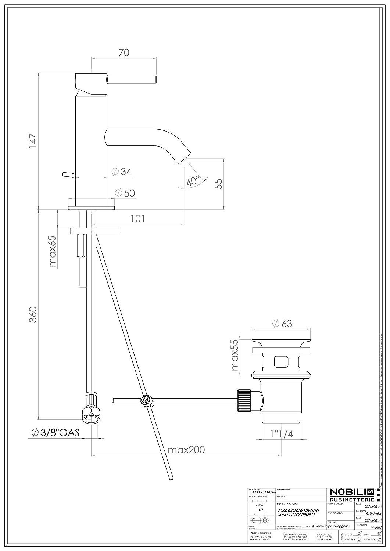 Scarico 1 1//4 Pollici Cromo Nobili rubinetterie AQ93118//1CR Acquerelli Miscelatore per Lavabo