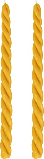 Braided Beeswax Havdalah Candle - 2 Pack - Hand Dipped Bees Wax with Extra Thick Round Twist Braid - Shabbat Judaica Gift - By Ner Mitzvah