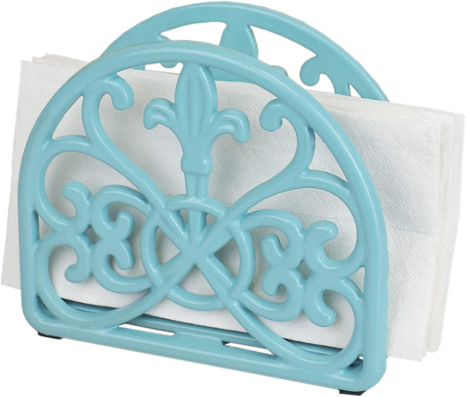 Home Basics Cast Iron Fleur De Lis Napkin Holder Kitchen Countertop Dinner Table Indoor & Outdoor
