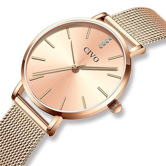 CIVO Relojes Mujer Ultra Fino Silm Minimalista Reloj de Señoras Impermeable Moda Vestir Elegante Relojes de