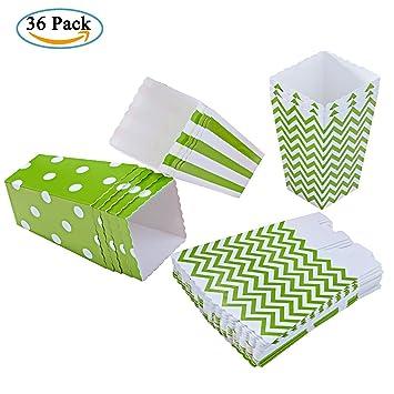 Diealles 36PCS Mini Caja de Fiesta de Palomitas Contenedor de Dulces para Los Bocados del Partido, Los Dulces, Las Palomitas y Los Regalos (Verde): ...