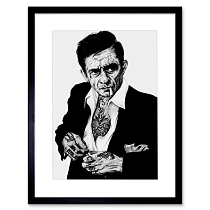 Amazon.com: JOHNNY CASH TATTOO INKED ICON FRAMED ART PRINT BY W ...