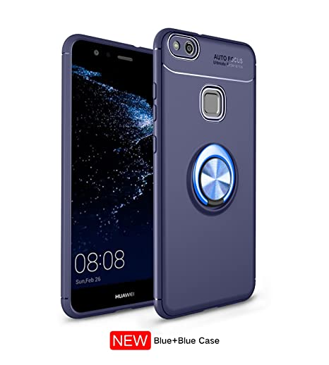 Funda Huawei P10 lite/Nova lite Case,360 Grados Caso Carcasa Cover Skin móviles telefonía Silicona Líquida Fundas Magnético coche Kickstand Carcasa ...