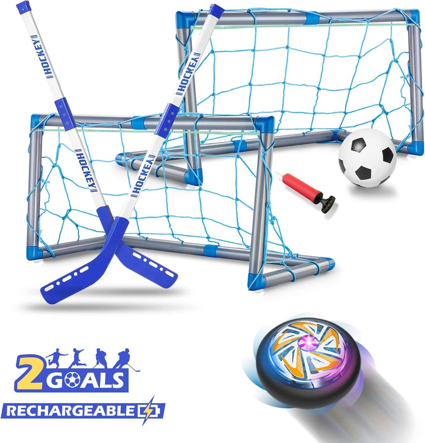 RACPNEL Indoor & Outdoor Games Toys for Boys, Rechargeable Hover Hockey & Soccer Ball Set Toys for Kids, with 2 Goals & 2 Hockey Sticks & Inflatable Ball,Sports Gifts For Boys Girls Age 3 4 5 6 7 8 9+