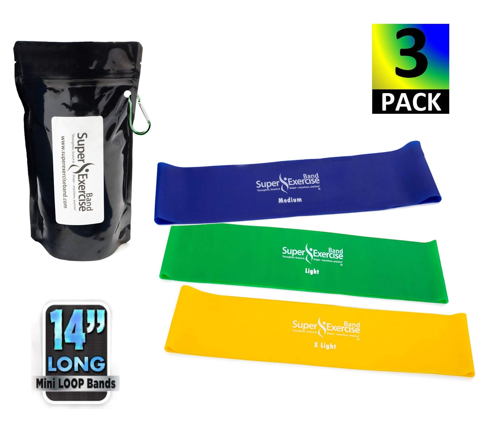 Super Exercise Band 3 Pack 14'' x 3'' Extra Long Light Strength Mini Loop Bands Assortment. Non-Latex Resistance for Fitness, Physical Therapy, Pilates, and Strength Training.