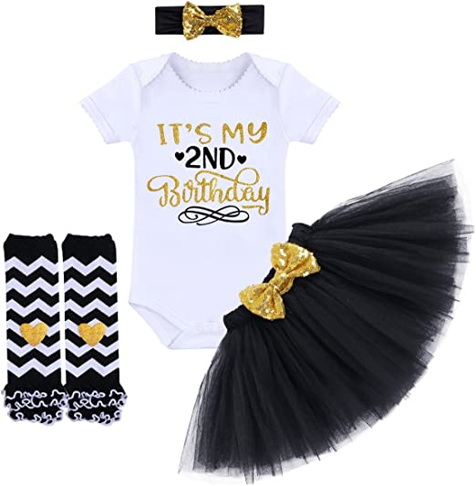 Toddler Baby Girls 2nd Birthday Outfit Party Romper Skirt Cake Smash Tutu Dress