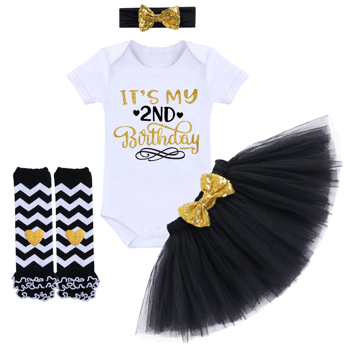 af61576a7ca91 Baby Girls It's My 1st/ 2nd Birthday Cake Smash Outfit Romper Tutu Skirt  Headband Leg Warmers 4PCS Set Dress Clothes