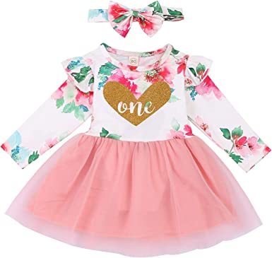GRNSHTS Newborn Baby Girl Dress Toddler Ruffled Skirt Solid Color Long Sleeve Fall Winter Outfits