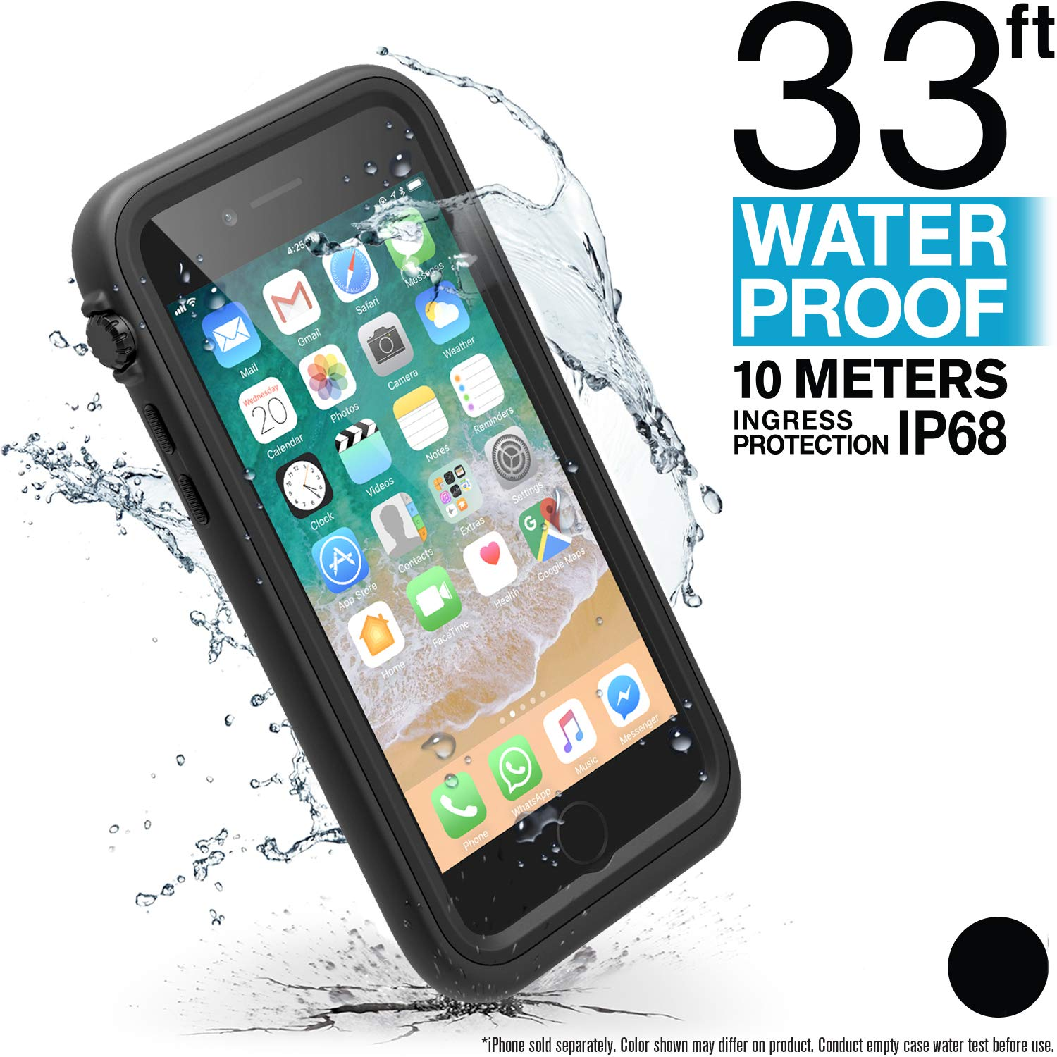 Catalyst iPhone 8 Waterproof Case (Compatible with iPhone 7), Shock Proof, Drop Proof, Slim, or Apple iPhone 8 (Works with iPhone 7) with Wrist Lanyard Included (Black) by Catalyst